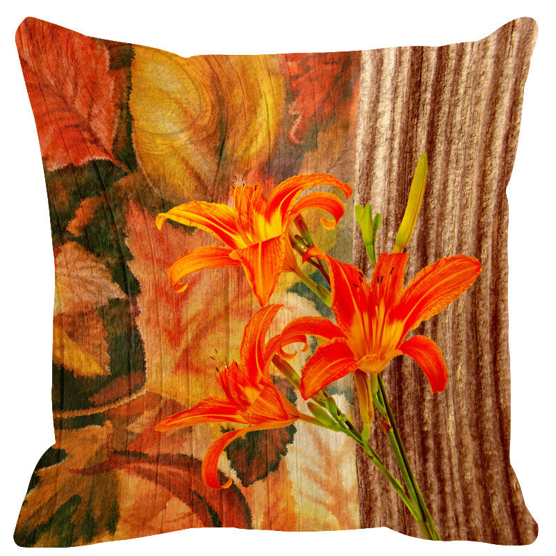 Leaf Designs Natural Orange & Brown Wood Design Cushion Cover - Set Of 2