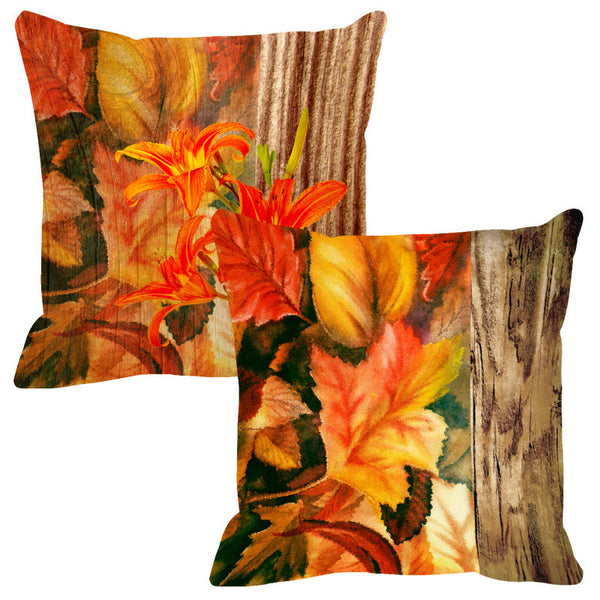 Leaf Designs Natural Green & Yellow Wood Design Cushion Cover - Set Of 2