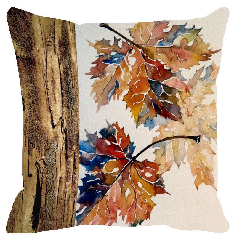 Leaf Designs Natural Blue & Brown Wood Design Cushion Cover - Set Of 2