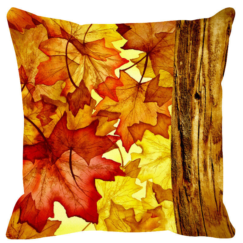 Leaf Designs Natural Yellow & Ivory Wood Design Cushion Cover - Set Of 2