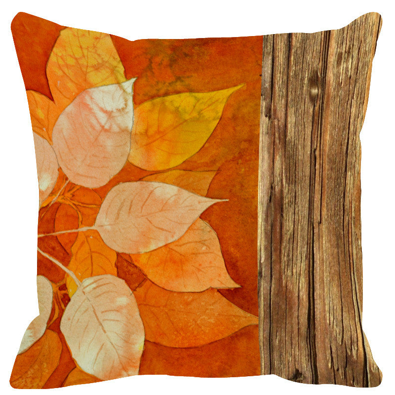 Leaf Designs Natural Orange Tones Wood Design Cushion Cover - Set Of 2