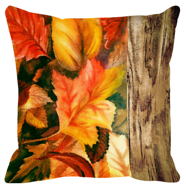 Leaf Designs Natural Darkest Green Wood Design Cushion Cover - Set Of 2
