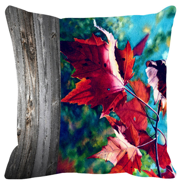 Leaf Designs Natural Bright Blue Cushion Cover