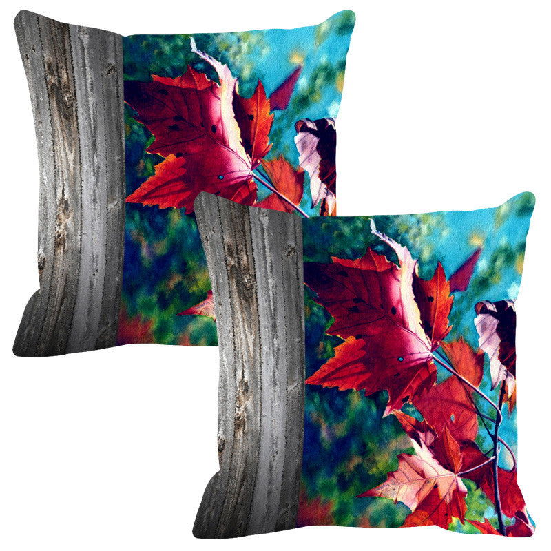 Leaf Designs Natural Bright Blue Wood Design Cushion Cover - Set Of 2