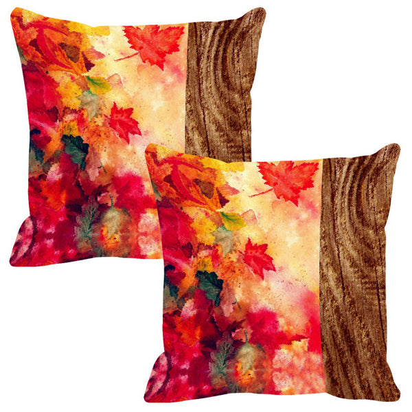 Leaf Designs Natural Beige Wood Design Cushion Cover - Set Of 2