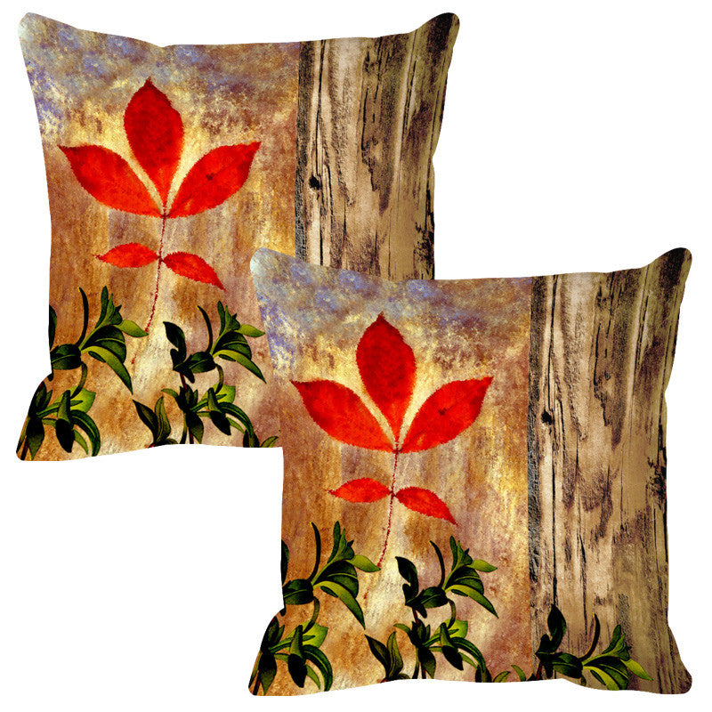 Leaf Designs Natural Canary Wood Design Cushion Cover - Set Of 2