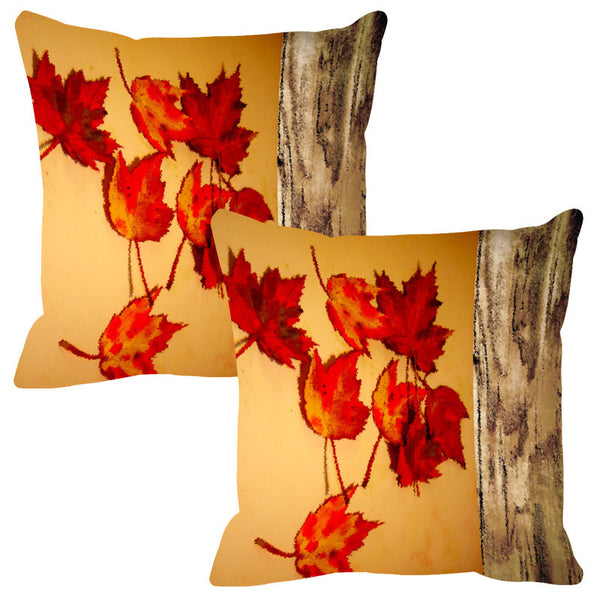 Leaf Designs Natural Honey Wood Design Cushion Cover - Set Of 2