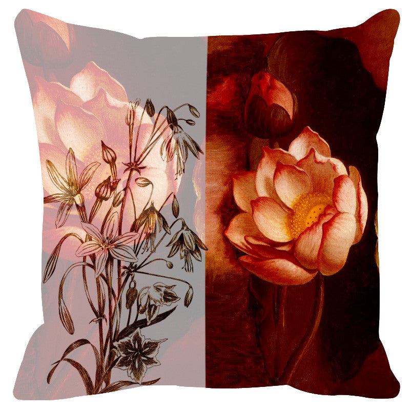 Leaf Designs Sketched Brown Floral Cushion Cover