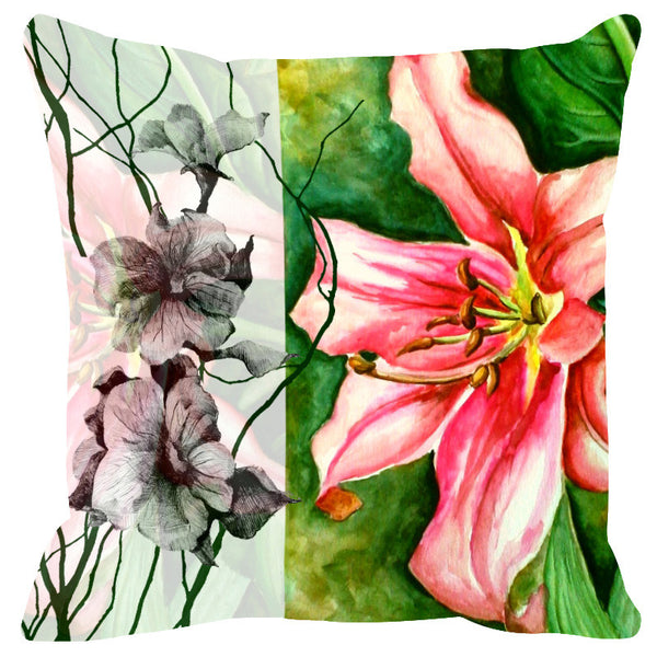 Leaf Designs Sketched Floral Green Cushion Cover