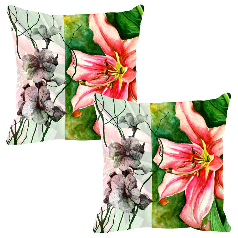 Leaf Designs Sketched Floral Green Cushion Cover - Set Of 2