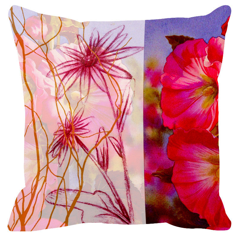 Leaf Designs Sketched Floral Red Cushion Cover