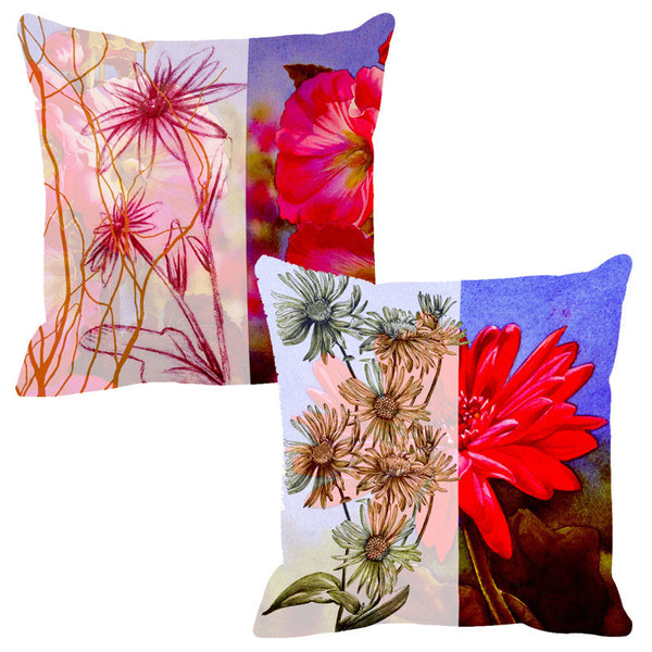 Leaf Designs Sketched Red Tones Cushion Cover - Set Of 2