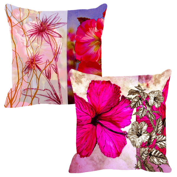 Leaf Designs Sketched Red & Hot Pink Cushion Cover - Set Of 2