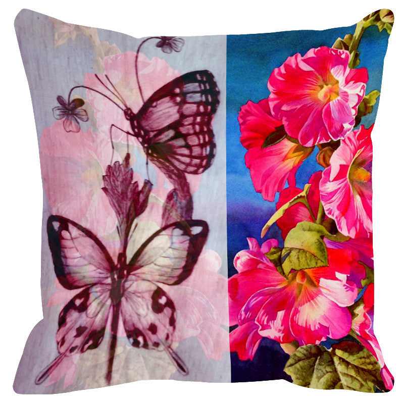 Leaf Designs Sketched Hot Pink Tones Cushion Cover - Set Of 2