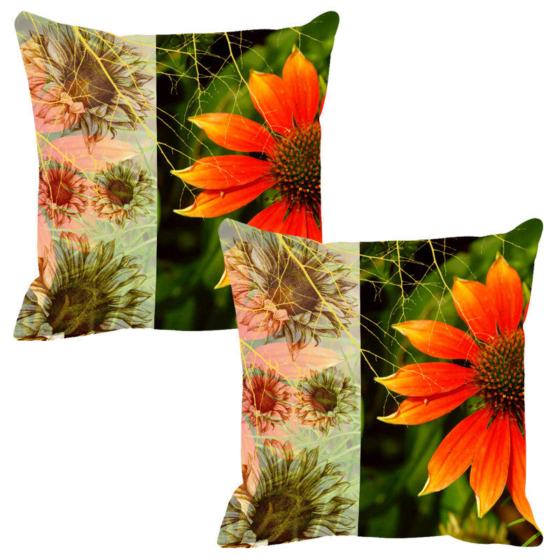 Leaf Designs Sketched Floral Orange Cushion Cover - Set Of 2