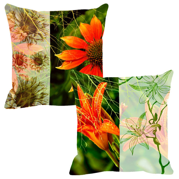 Leaf Designs Sketched Orange & Green Tones - Set Of 2