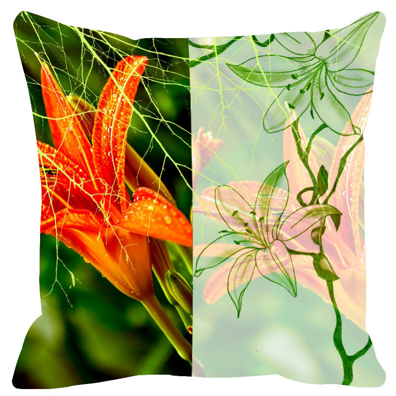 Leaf Designs Sketched Floral Light Green Cushion Cover