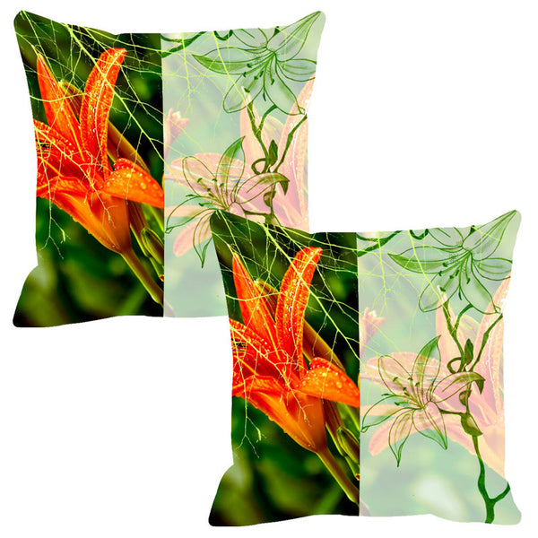 Leaf Designs Sketched Floral Light Green Cushion Cover - Set Of 2