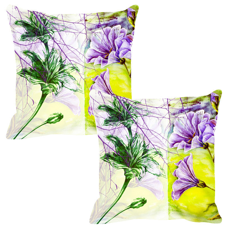 Leaf Designs Sketched Floral Purple Cushion Cover - Set Of 2