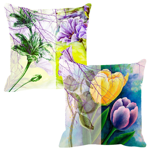 Leaf Designs Sketched Yellow & Purple Cushion Cover - Set Of 2