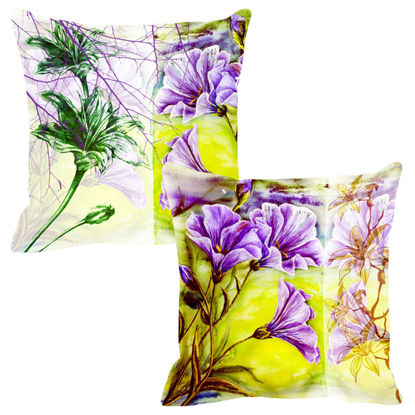 Leaf Designs Sketched Yellow Tones Cushion Cover - Set Of 2