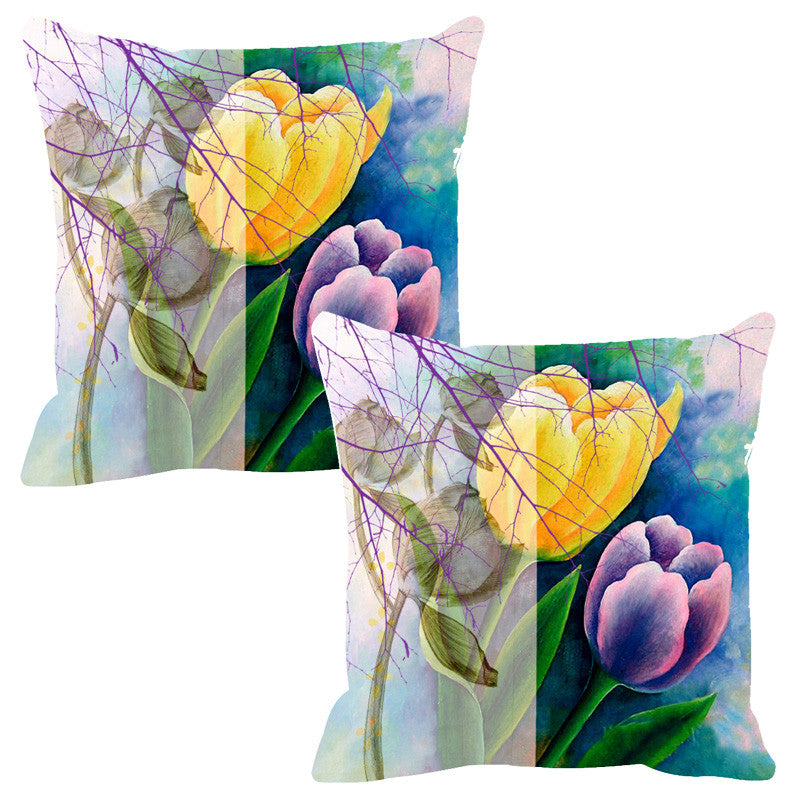 Leaf Designs Sketched Floral Blue & Purple Cushion Cover - Set Of 2