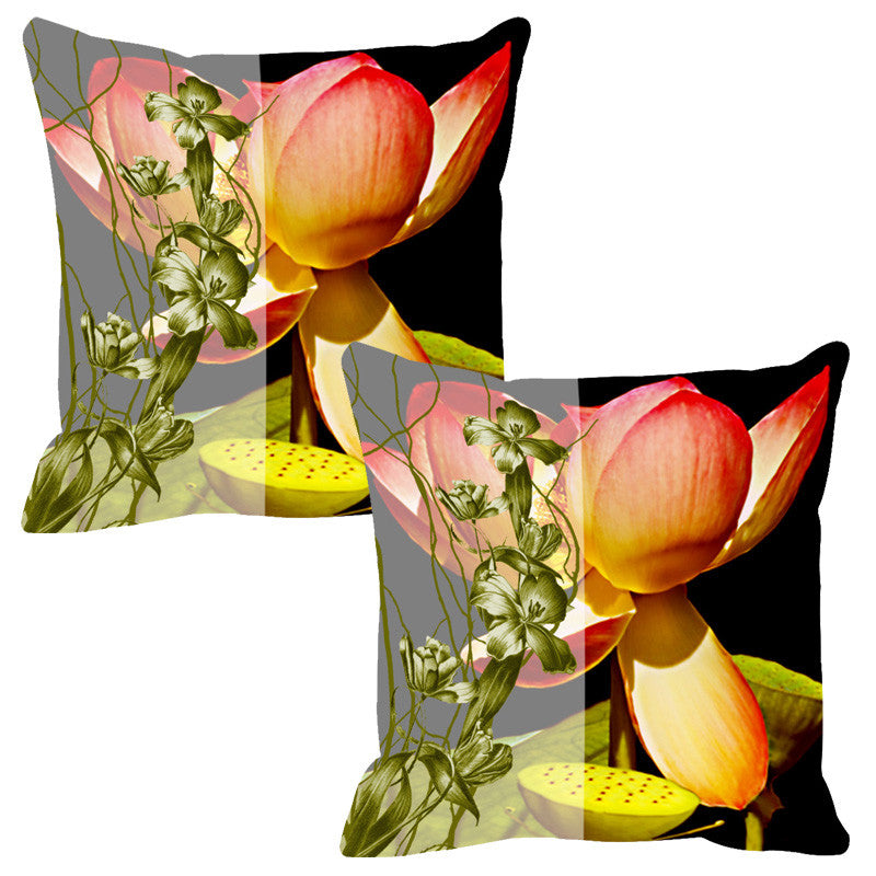 Leaf Designs Sketched Floral Yellow Cushion Cover - Set Of 2