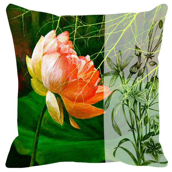 Leaf Designs Sketched Floral Green Tones Cushion Cover