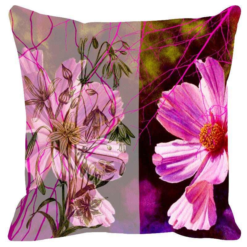 Leaf Designs Sketched Pink & Mauve Cushion Cover - Set Of 2