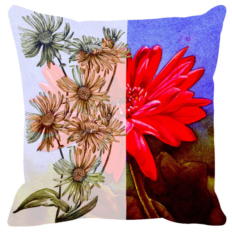 Leaf Designs Sketched Floral Red Purple Cushion Cover - Set Of 2