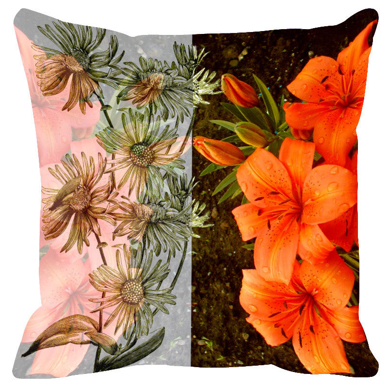 Leaf Designs Sketched Floral Orange & Dark Brown Cushion Cover