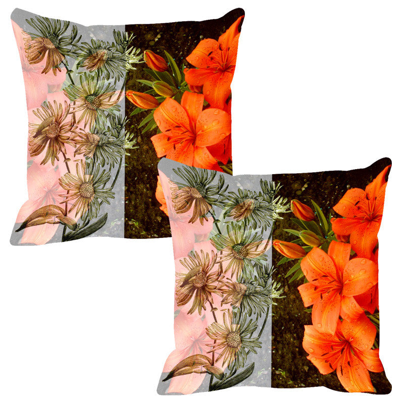 Leaf Designs Sketched Floral Orange & Dark Brown Cushion Cover - Set Of 2