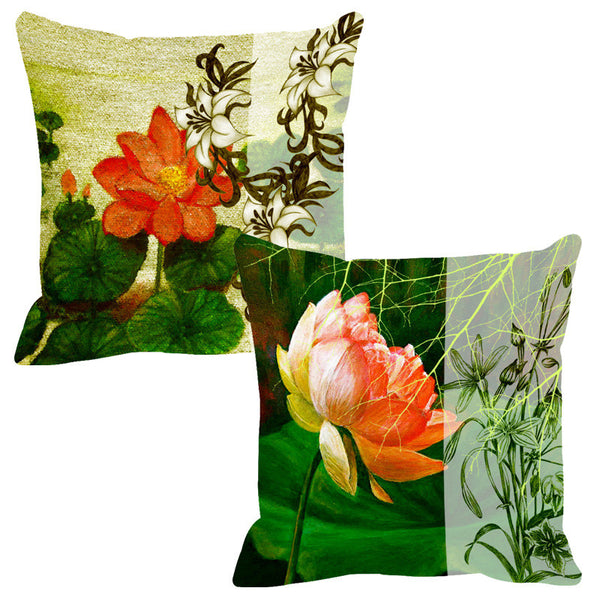 Leaf Designs Sketched Deep Green Cushion Cover - Set Of 2
