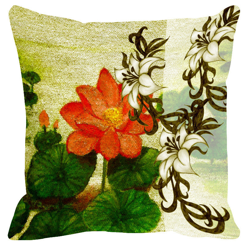 Leaf Designs Sketched Floral Orange & Green Cushion Cover - Set Of 2