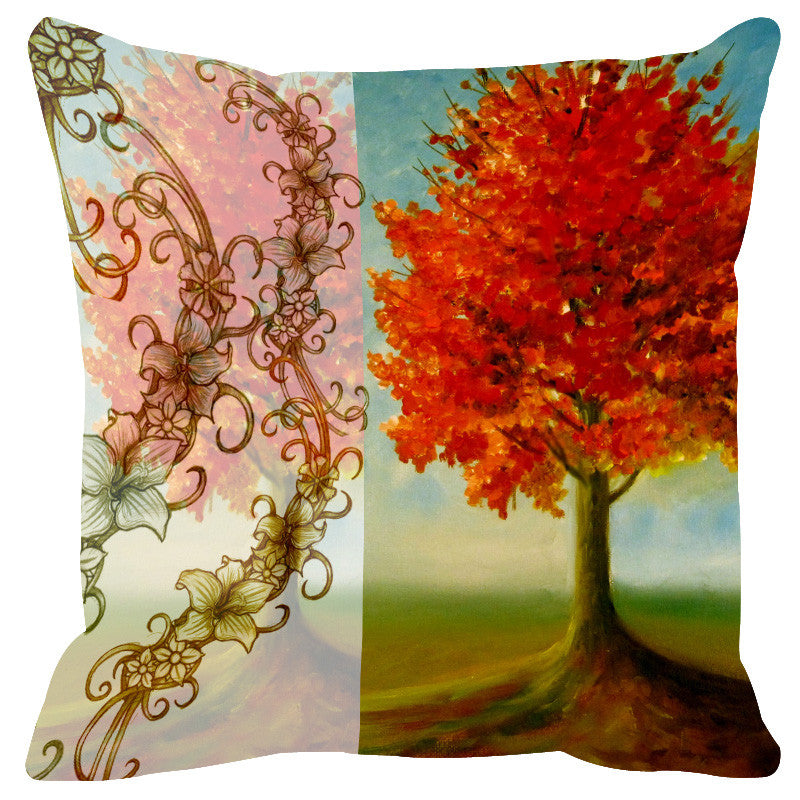 Leaf Designs Sketched Peach & Orange Cushion Cover - Set Of 2