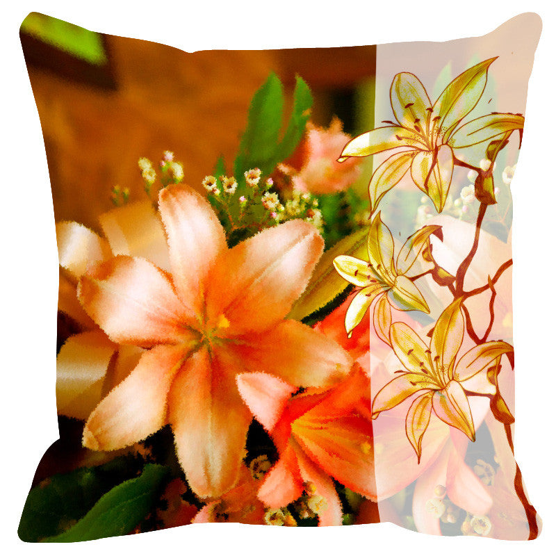 Leaf Designs Sketched Floral Peach Tones Cushion Cover
