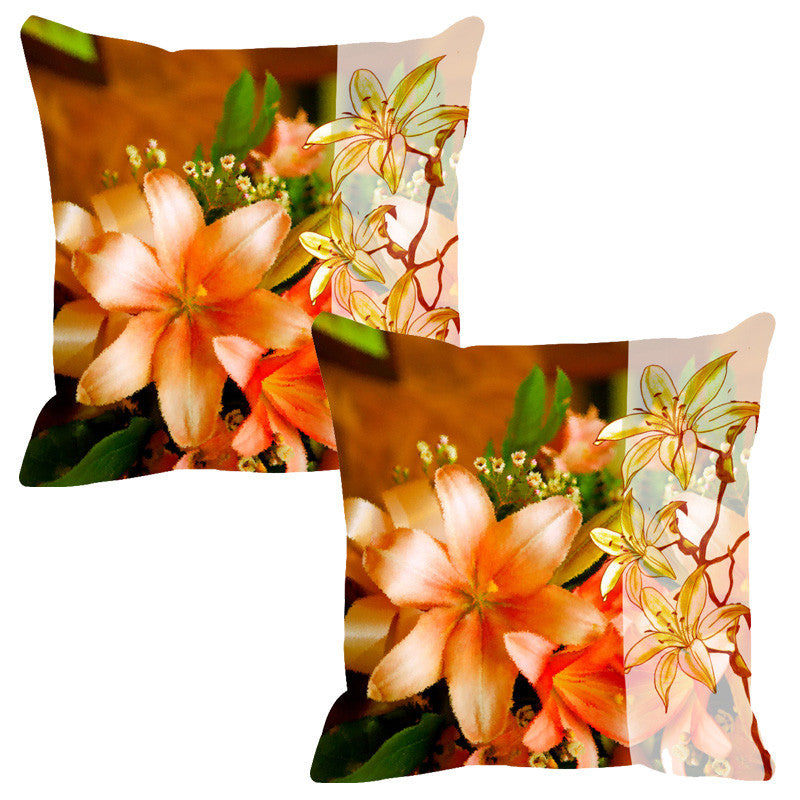 Leaf Designs Sketched Floral Peach Tones Cushion Cover - Set Of 2