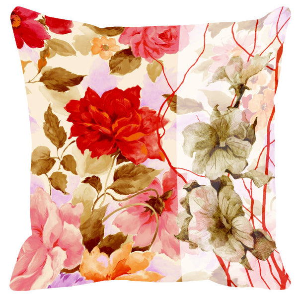 Leaf Designs Sketched Floral Red & Soft Pink Cushion Cover