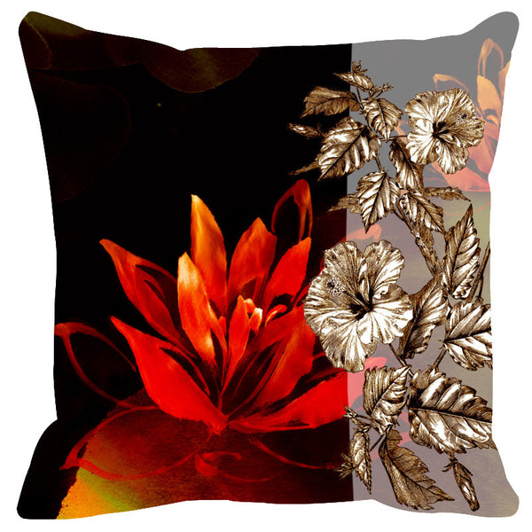 Leaf Designs Sketched Floral Red & Black Cushion Cover - Set Of 2
