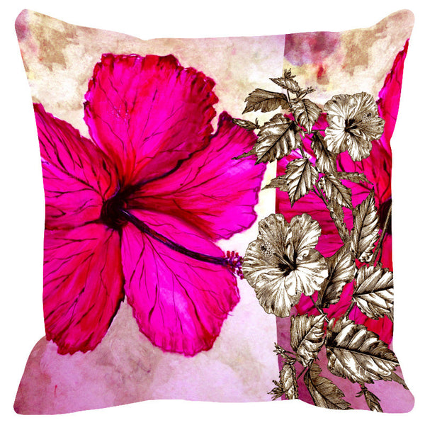 Leaf Designs Sketched Floral Hot Pink Cushion Cover - Set Of 2