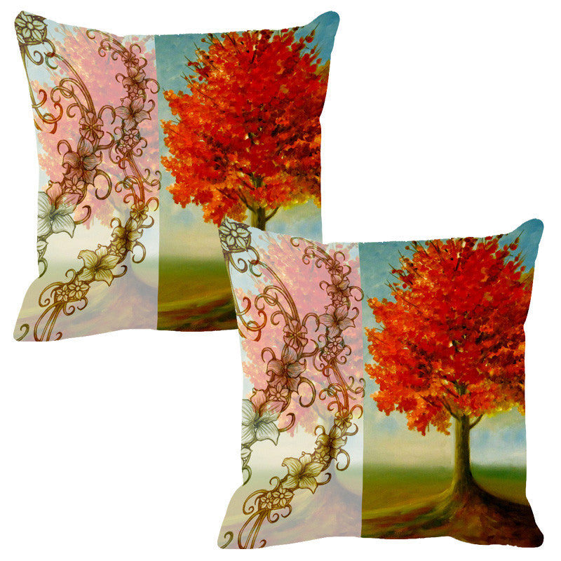 Leaf Designs Sketched Floral Orange & Peach Cushion Cover - Set Of 2