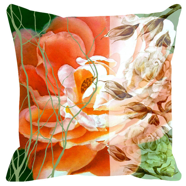 Leaf Designs Sketched Floral Peach & Ivory Cushion Cover - Set Of 2