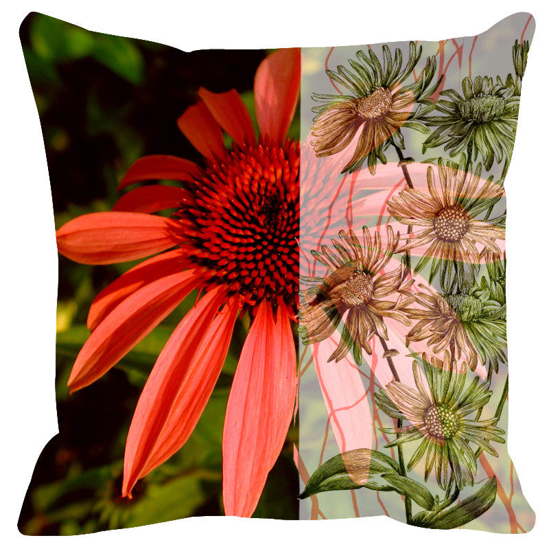 Leaf Designs Sketched Floral Dark Orange Cushion Cover