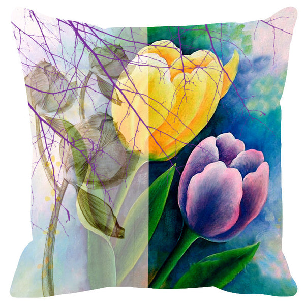 Leaf Designs Sketched Sea Green & Purple Cushion Cover - Set Of 2