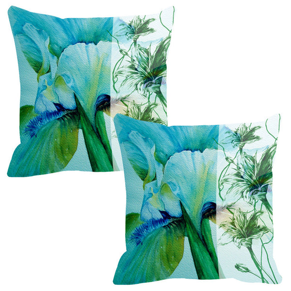 Leaf Designs Sketched Floral Sea Green Cushion Cover - Set Of 2