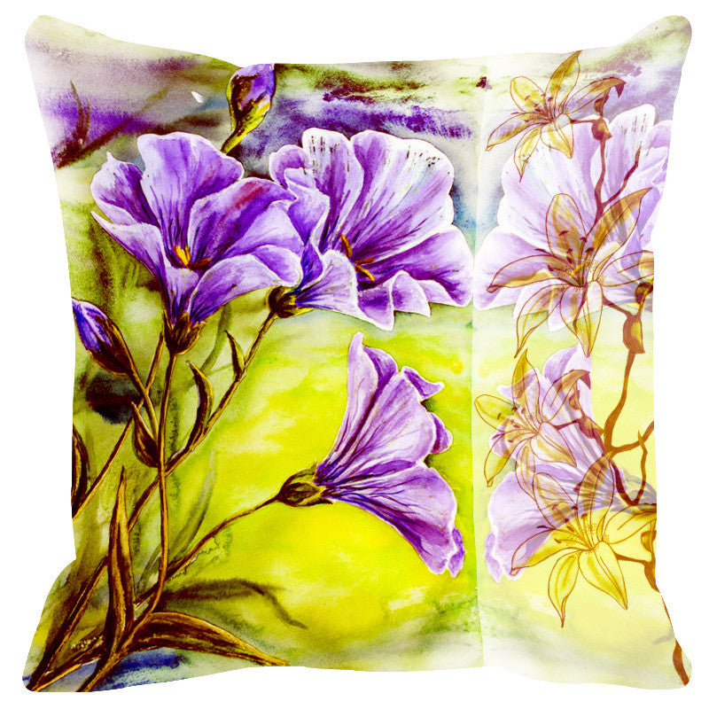 Leaf Designs Sketched Floral Leaf Green Cushion Cover