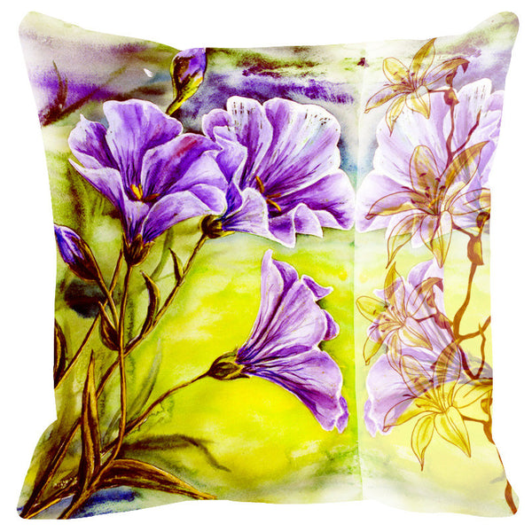 Leaf Designs Sketched Floral Leaf Green Cushion Cover - Set Of 2