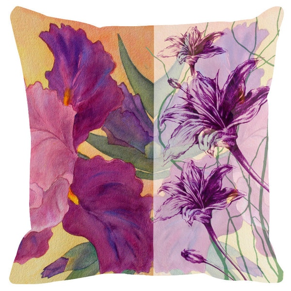Leaf Designs Sketched Floral Mauve Cushion Cover - Set Of 2