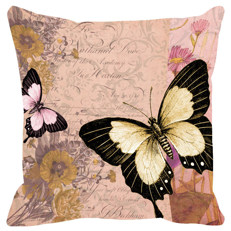 Butterfly & Floral Lilac Cushion Cover