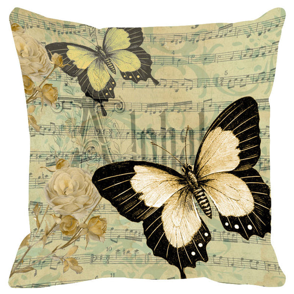 Butterfly & Floral Grey Cushion Cover